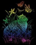 Képkarcoló készlet karctűvel - 20x25 cm - Szivárványos - Cica pillangókkal