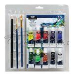 Tubusos akrilfestő készlet ecsetekkel és akvarell tömbbel - Kezdő festőkészlet áttetsző csomagolásba