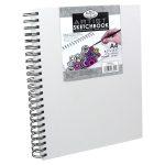 Vázlattömb, személyre szabható, fehér vászonkötéses gyűrűs - Royal SketchBook A4