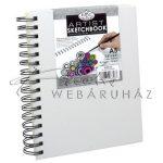 Vázlattömb, személyre szabható, fehér vászonkötéses gyűrűs - Royal SketchBook A5