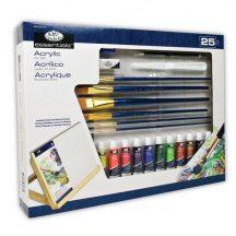 Óriás asztali akrilkészlet dönthető A3 asztali festőállvánnyal - Royal - 25 részes