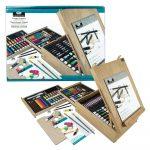 XL akril, olaj és akvarell művészkészlet, dobozos asztali festőállvánnyal, natúr - Royal Mixed Media