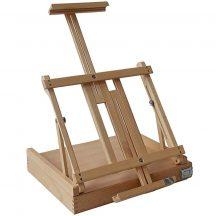 Festőállvány tölgyfából - Nagy asztali állvány, kihúzható fiókkal.