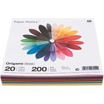 Origami papír 15x15 cm - 20 színű, 200 lapos gazdaságos készlet