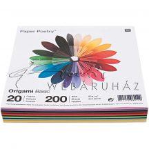 Origami papír 20x20 cm - 20 színű, 200 lapos gazdaságos készlet