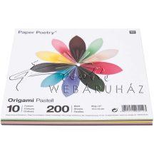 Origami papír 15x15 cm - Pasztel, 10 színű, 200 lapos gazdaságos készlet