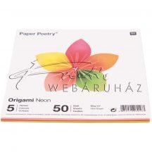 Origami papír 15x15 cm - Neon színek, 5 színű, 50 lapos készlet