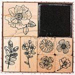 Nyomdakészlet nyomdapárnával, 8 részes - Virágok