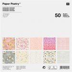 Origami papír 15x15 cm - 50 lapos készlet - Virágok, gyöngyök, anyagok, 10 féle design