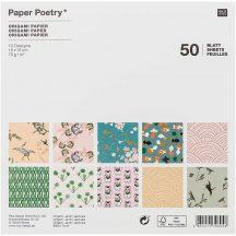 Origami papír 15x15 cm - 50 lapos készlet - Japán kert, 10 féle design
