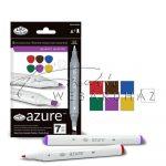 Filctoll készlet, AZURE Premium Marker, 6+1 db-os - Élénk színek