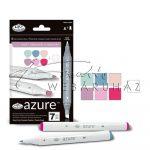 Filctoll készlet, AZURE Premium Marker, 6+1 db-os, Alkonyati színek