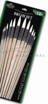 Ecsetkészlet, 12 db-os hegyes kerek, hosszú nyelű - Royal White Taklon művészecsetek
