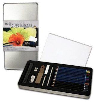 Kreatív hobby - Skicc és színes készlet - Deluxe fém dobozban - Royal - 24db