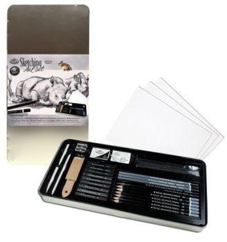 Rajzkészlet - Deluxe fém dobozban - Royal - 33db