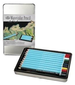 Kreatív hobby - Akvarellceruza készlet fém ceruzatartóban - Ajándékkészlet fémdobozban Karácsonyra