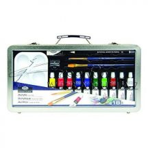 Nagy akrilfestő készlet elegáns, füles fémtáskában - Royal - 18 részes készlet, kb. 35x1