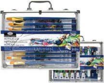 Nagy akrilfestő készlet elegáns, füles alumínium táskában - Royal - 32 részes készlet, kb. 37x29x6cm