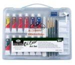 Kreatív hobby - Olajfestő készlet  - Divatos áttetsző táskában - Royal kezdő készlet olajfestékkel