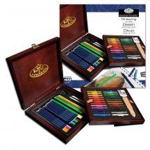 Nagy színesceruza készlet fadobozban - Royal 49db-os készlet
