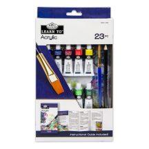 Akrilfestő oktató készlet - 23 részes szett - Akrilfestés - Kartondobozban