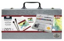Nagy akvarellfestő ZEN készlet elegáns fa táskában, 29 részes szett - Royal ZEN 29