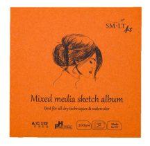 Mini album vegyes technikákhoz - SMLT Mixed media sketch album 200gr, 32 lapos, 9x9cm