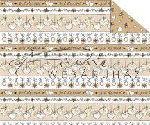 Kartonpapír - Just Married krémszínű szívek. esküvői díszek sormintás karton