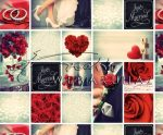 Esküvői képes, piros Mintás karton - 5 lap