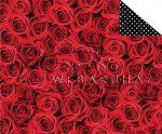 Kartonpapír - Klasszikus esküvő, vörös rózsa mintás karton