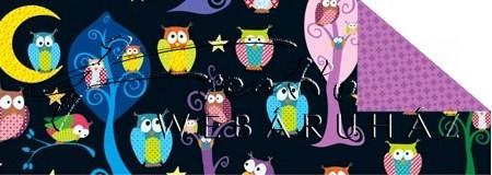 Kartonpapír - Mesevilág Éjszakai baglyok a varázserdőben - mintás karton, színes bagoly