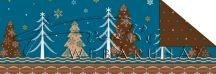 """Kartonpapír - """"Karácsonyi varázslat"""" Csomagolópapír mintás Karton, fenyőfa és hópelyhek mintasorral"""