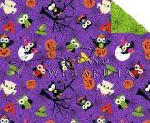 Kartonpapír - Halloween, drakula-szellem-boszorkány bagoly figura mintás Karton, 300 g, 1 lap