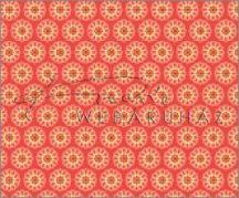 Kartonpapír - Apró piros-sárga virágok, piros mintás karton, 1 lap