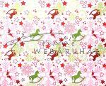 Kartonpapír - Karácsonyi varázslat zöld Hintalovak piros hópelyhekkel sormintás karton