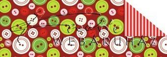 Kartonpapír - Télidő mozaik, piros-fehér-zöld gomb mintás karton