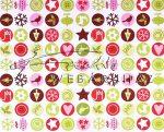 """Kartonpapír - """"Karácsonyi varázslat"""" apró körös mozaik, karácsonyi motívumok piros zöld színben 29,5"""