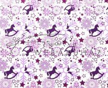 Kartonpapír - Karácsonyi varázslat lila Hintalovak hópelyhekkel sormintás karton, 1 lap
