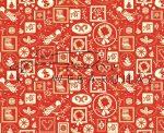 Kartonpapír - Nosztalgia Karácsony Piros-krémfehér madárka és koszorú mintás Karton