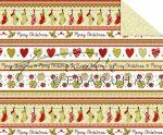 Kartonpapír - Karácsonyi tradíciók Piros, zöld szív, téli zokni, sormintás Karton