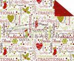 Kartonpapír - Karácsonyi tradíciók fehér alapon Piros-zöld feliratos, szív motívumos Karton