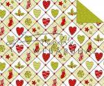 """Kartonpapír - """"Karácsonyi tradíciók"""" Piros, zöld szív, téli zokni, hópehely mozaik mintás"""
