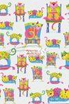 Kartonpapír - Happy macska mintás karton, színes cicák kék háttérrel, 29,5x20cm, 1 lap