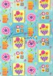Kartonpapír - Happy mintás karton, Vidám, színes virágok kék háttérrel