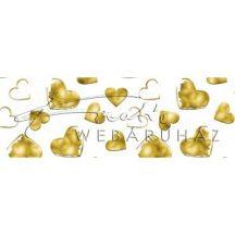 Kartonpapír - Esküvői arany szívek mintás kartonpapír, 20 gr. A4 - 1 lap