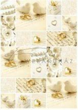 Kartonpapír - Esküvői metálfényű arany és krém mintás karton, A4 - 1 lap