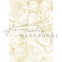 Kartonpapír - Esküvői Starlight karton, Nagy krém és arany rózsa mintás design karton, A4 - 5 lap