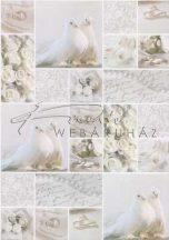 Kartonpapír - Esküvői metálfényű ezüst és fehér mintás design karton, A4 - 5 lap