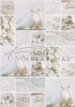 Kartonpapír - Esküvői metálfényű ezüst és fehér mintás design karton, A4 - 1 lap