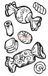 Kreatív hobby - Akrilnyomda készlet - Pecsételő készlet - Cukorkák